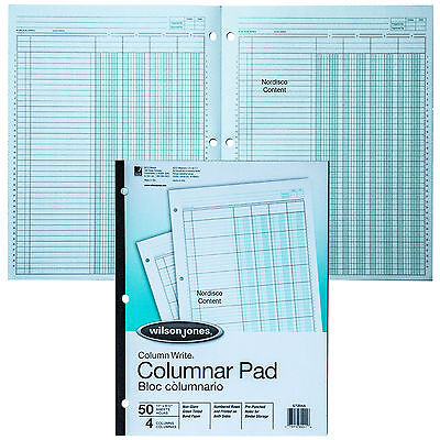 Wilson Jones G7204a Columnar Pad 4 Column Green Tint Column Write 11 X 8-12