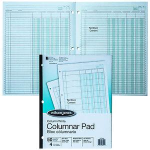 Wilson Jones G7204A Columnar Pad, 4 Column, Green Tint, Column Write 11 x 8-1/2