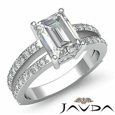 Micro Pave Split Shank Emerald Cut Diamond Engagement Ring GIA H Color SI1 1.4Ct