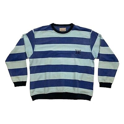 Vans Embroidered Logo Striped Sweatshirt | Vintage 90s Skate Street Wear Jumper