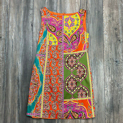Peter Nygard Womens Petite Size 10 Orange Paisley Sleeveless Dress 70s (70s Inspired)