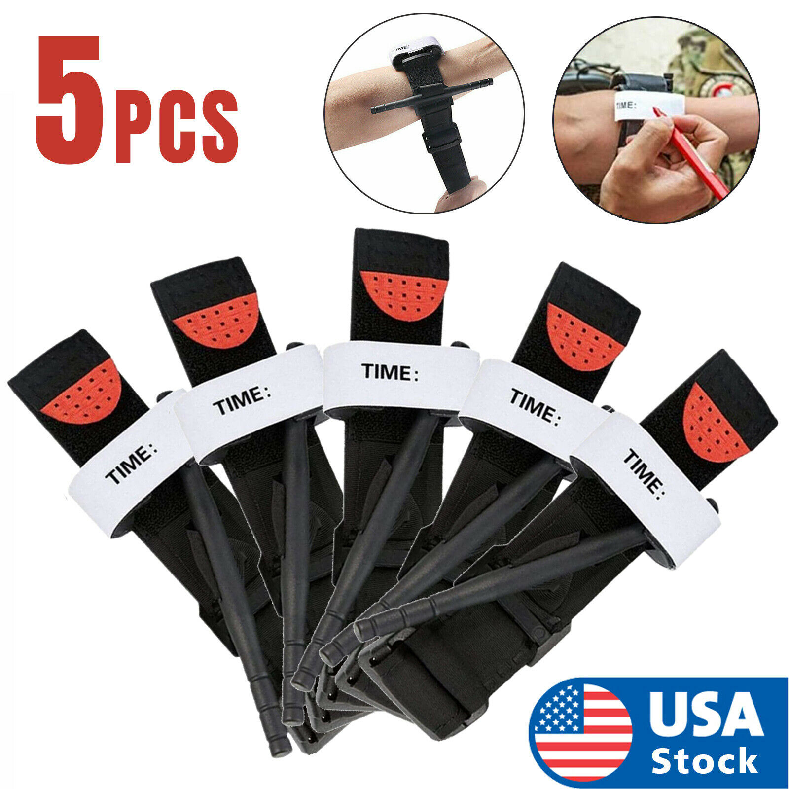 5 pcs Tourniquet Rapid One Hand Application Emergency Outdoor First Aid Kit USA Collectibles