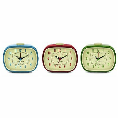 Classic Retro Analogue Alarm Clock Glow In The Dark Hands Battery