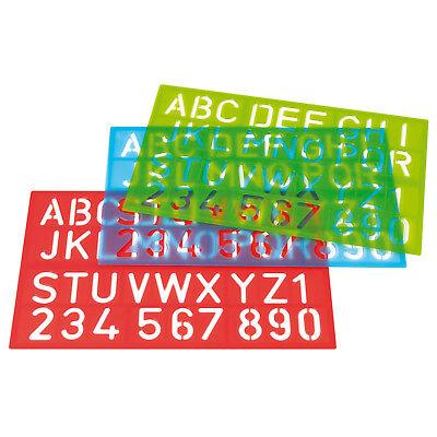 Schablone, Buchstaben und Zahlen, rot, blau oder grün - 34,8 x 21,5 cm ()