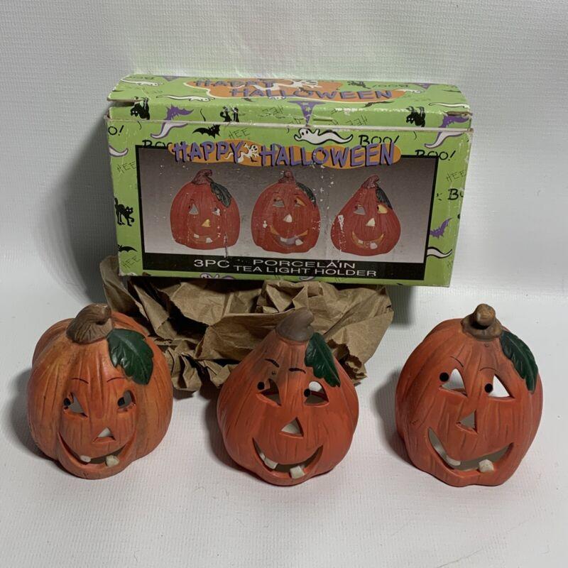 Halloween Porcelain Jack-O-Lantern Tea Light Holders Set Of 3 Pumpkin Vintage