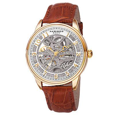Men's Akribos XXIV AK807YG Gold-tone Automatic Skeleton Brown Leather Watch
