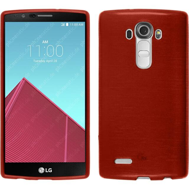 Silicone Case for LG G4 brushed red + protective foils