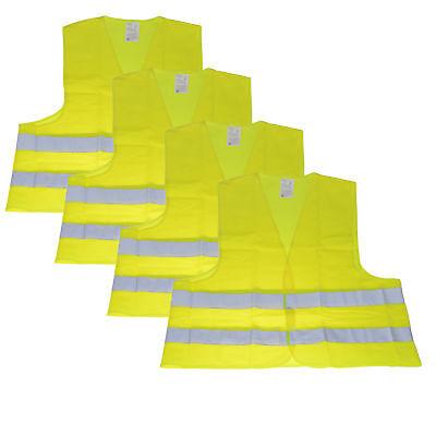 4 Stk Warnweste Unfallweste Neon Gelb Sicherheitswarnweste KFZ DIN EN ISO 20471