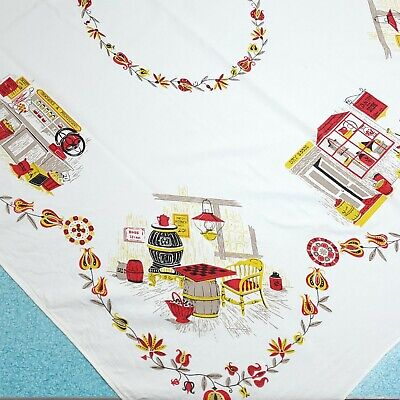 Vintage Printed Country Store Tablecloth Yellow Red Farmhouse 43x52 Rectangular