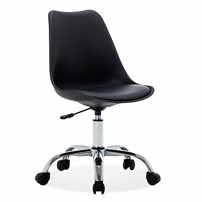 Armless Mid-back Task Office Conference Chair Faux Leather Adjustable Swivel