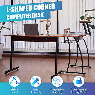 L Shaped Gaming Desk With Monitor Stand And 2 Usb Ports 39x19 44x19 Sides Walnut