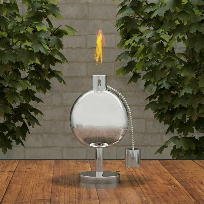 Torch Lamp Table Top Stainless Steel Outdoor Lighting Fuel Canister Decorative