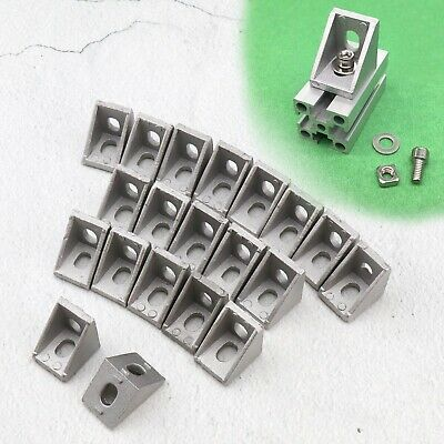 T Slot Right Angle Bracket Aluminum Brace Corner Joint With 6mm Holes 20pcsset