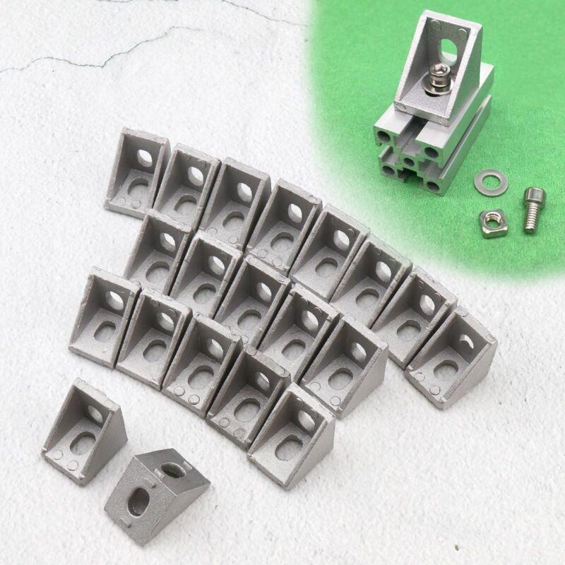 T Slot Right Angle Bracket Aluminum Brace Corner Joint with 6mm Holes 20pcs/set
