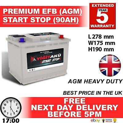 096 100 START STOP AGM 90AH Heavy Duty 12V Car Battery More...