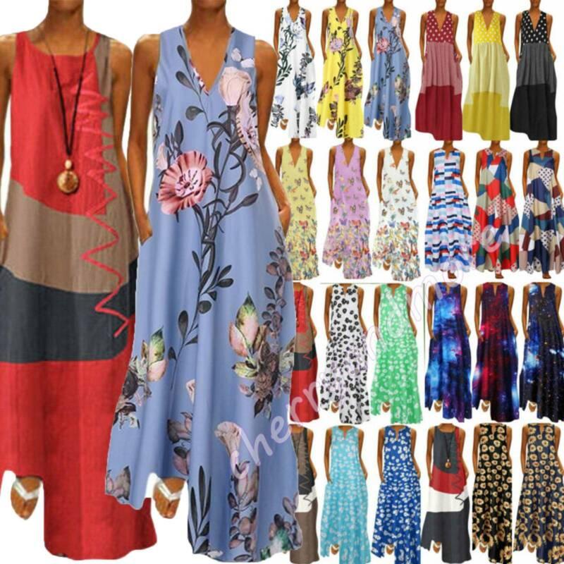 Women V Neck Boho Dress Sleeveless Floral Autumn Winter Slim Sundress Plus Size Clothing, Shoes & Accessories