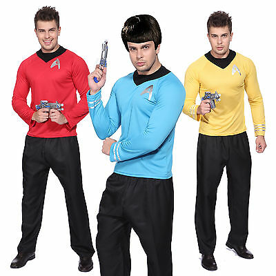 Mens Red Blue Star Trek Uniform Costume Captain Scotty Kirk Spock Fancy Dress - Star Trek Blue Dress