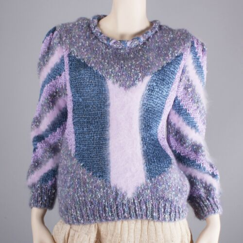 M/L Vintage 1980s Purple Blue Patterned Angora Ribbon Sweater Knit Top 80s