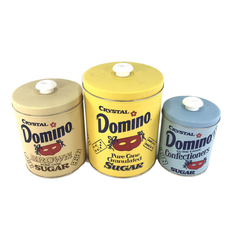 VTG Domino Sugar Metal Canister set of 3 Granulated Brown Confectioners
