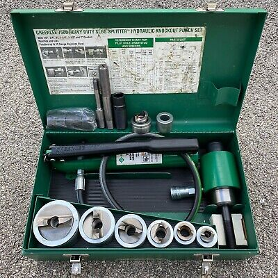 Greenlee 7506 Heavy Duty Slug Splitter Hydraulic Knockout Punch Set 12 To 2