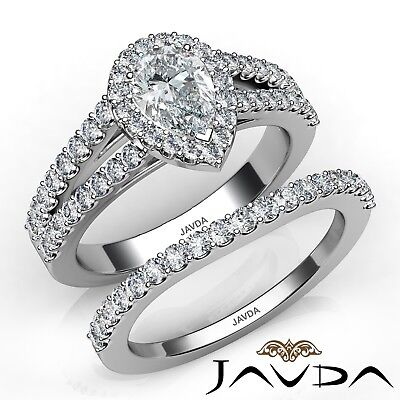 1.92ctw Bridal Set Split Shank Pear Diamond Engagement Ring GIA H-SI1 White Gold