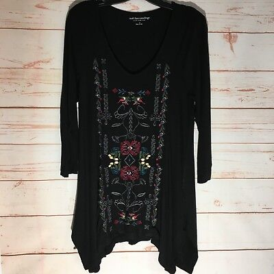 Soft Surroundings Embroidered Asymmetrical Black Tunic Sz  Small