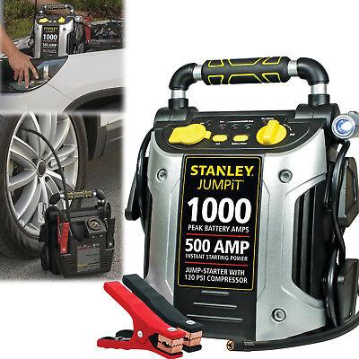 (PORTABLE BATTERY CHARGER 1000 Peak Amp Car Jump Starter with Air Compressor 12V)