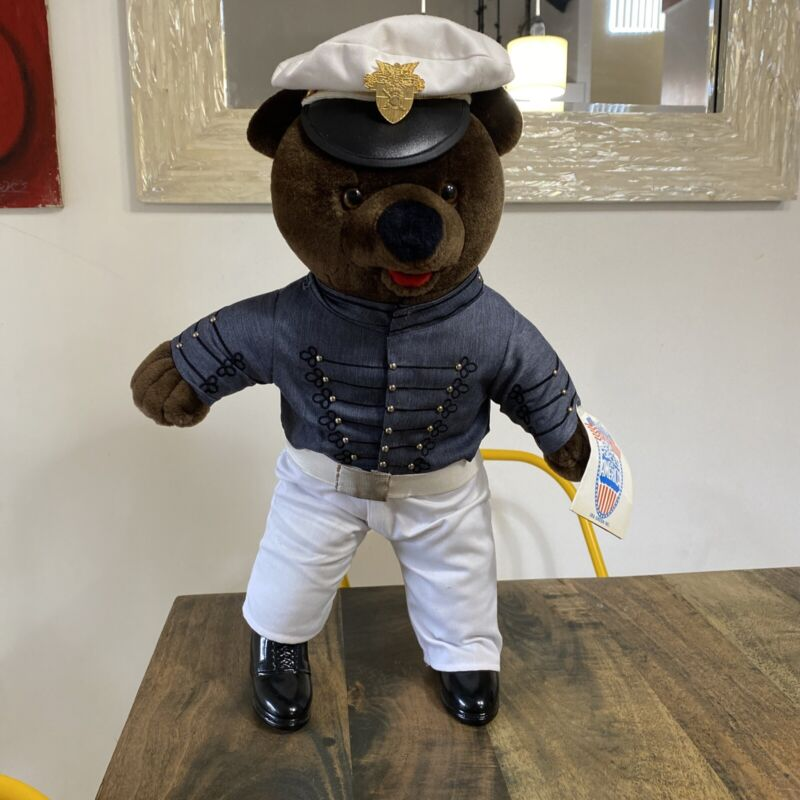 """BEAR FORCES OF AMERICA WEST POINT MILITARY 19"""" STUFFED BEAR WITH TAGS VTG"""