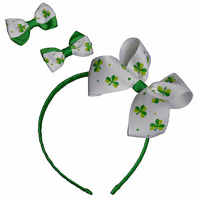 St Patricks Day - Dress Up, Novelty - Irish Headband & 2 Bow Clips
