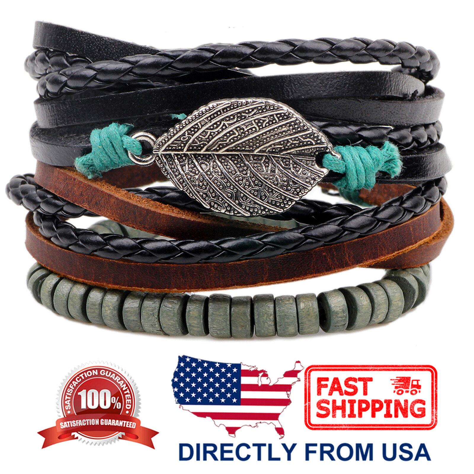 Tribal Wood Beads and Leaf Brown Leather Men Women Wristband Bracelet 3pcs Set Bracelets