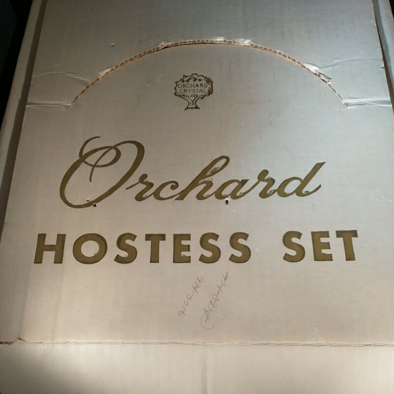 Orchard Crystal Hostess Set, 4 Tree Design Plates And 4 Cups, In Original Box