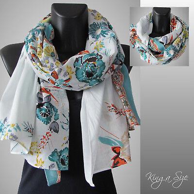 Schal ** Scarf Schultertuch Tuch Loop Cloth Floraldesign - COTTON - SLB5