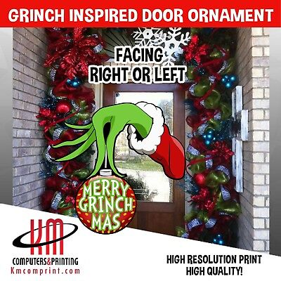 Grinch Hand with Ornament Merry Grinchmas Door/ Yard - Grinch Door Decorations