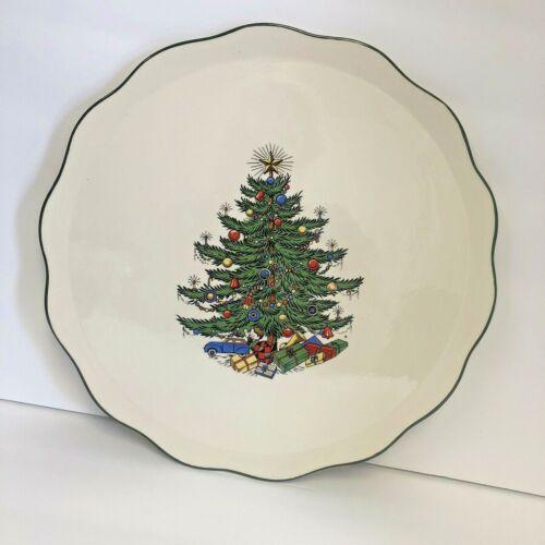 Rare Cuthbertson England Original Christmas Tree Platter Cake Plate Scallop Edge