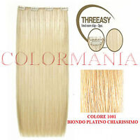 She Kit Threeasy 3 Fasce Extension Clip Colore 1001 Biondo Platino Chiarissimo -  - ebay.it