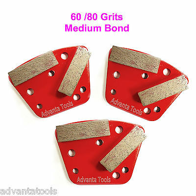 3pk Trapezoid Htc Style Grinding Shoe Disc Plate - Medium Bond - 6080 Grit