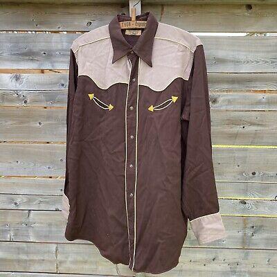 1940s Men's Shirts, Sweaters, Vests Rare Vintage 1940s H Bar C Western Button Up Made in Usa Rockabilly $166.96 AT vintagedancer.com