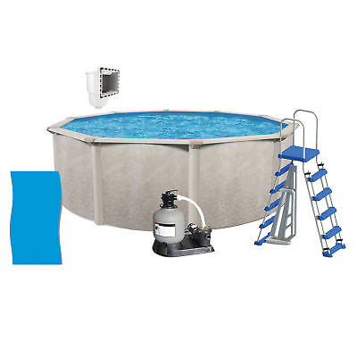 "Phoenix 24'x52"" Round Above Ground Pool + Filter Pump + Ladder + Liner + Skimmer"