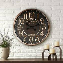 1863 Old Town London 23 1/2 Wide Rustic Vintage Wall Clock