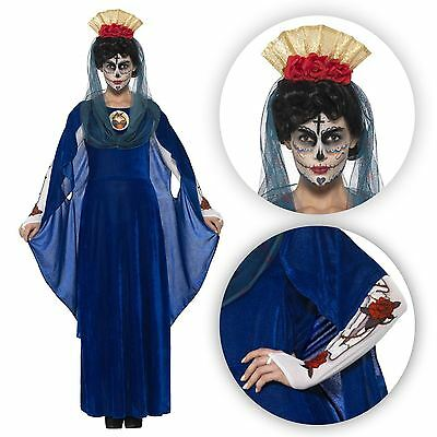 Damen Lang Blau Tag der Toten Heilig Jungfrau Maria Fest (Tag Der Toten Frauen Kostüm)
