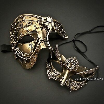 Black Gold Couple Phantom & Masquerade Steampunk Halloween Custom Party Mask](Custom Halloween Masks)