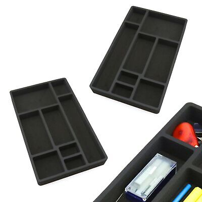 2 Desk Drawer Organizers Insert Black Home Or Office 8 Slot 19.9 X 12.1 New