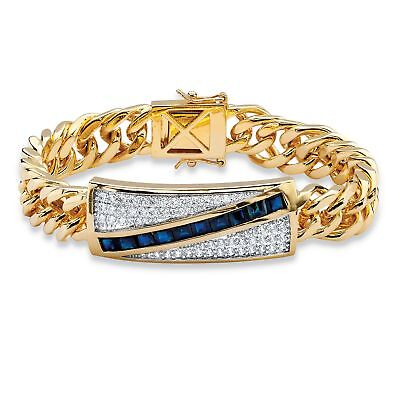 5.70 TCW Genuine Blue Sapphire and CZ 14k Gold-Plated Bracelet