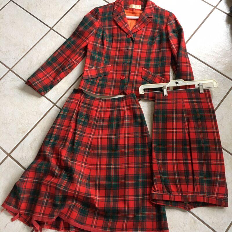 Pendleton Tartan Red Plaid Wool 3 Piece Suit Skirt Pants Jacket Vintage 70s