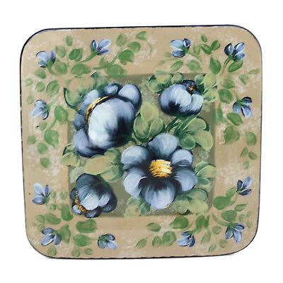 Lesal Ceramics Hand Crafted Painted Square Platter Charger Lisa Lindberg 12""