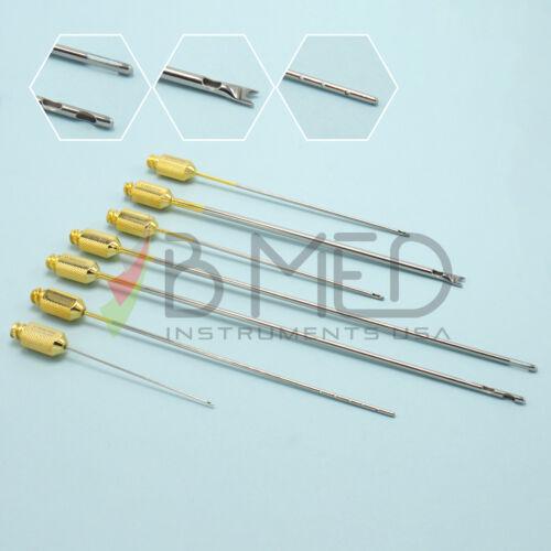 OR Grade 7 Piece Luer Lock Cannula Liposuction Set Fat Transfer Plastic Surgery