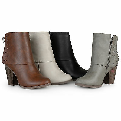 Brinley Co. Womens High Heel Corset Lace Chunky Heel Ankle Boots ...