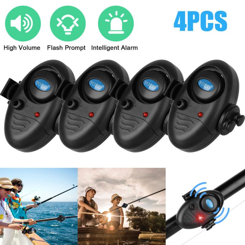 4x Electronic LED Light Fish Bite Sound Alert Alarm Bell Clip on Fishing Rod Set
