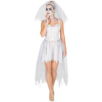 Sexy Brautkleid Skelett Kostüm Karneval Fasching Halloween Damen Kleid Geist ()