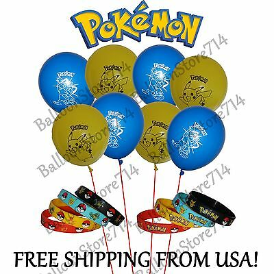 Pokemon Silicone Bracelets and/or Balloons! - Birthday Party Favors ~ Pikachu - Pokemon Birthday Favors